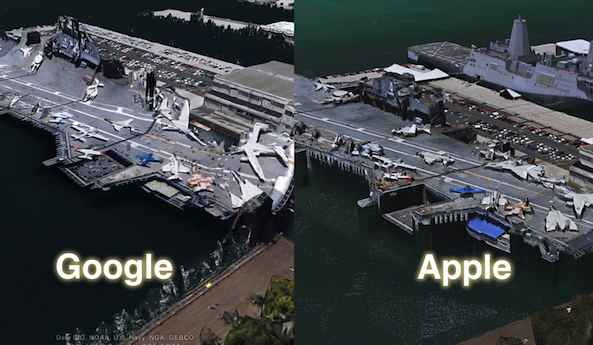 Comparativa Google Earth 3D  y Apple Maps iOS6
